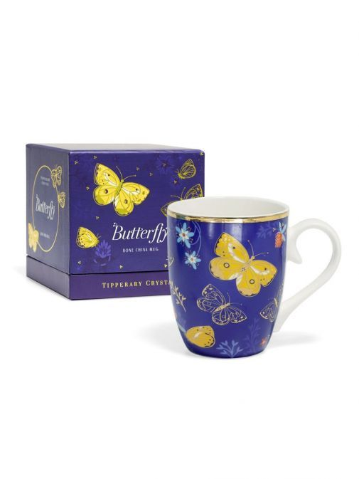 Front shot of the Tipperary Crystal Single Butterfly Mug The Clouded Yellow