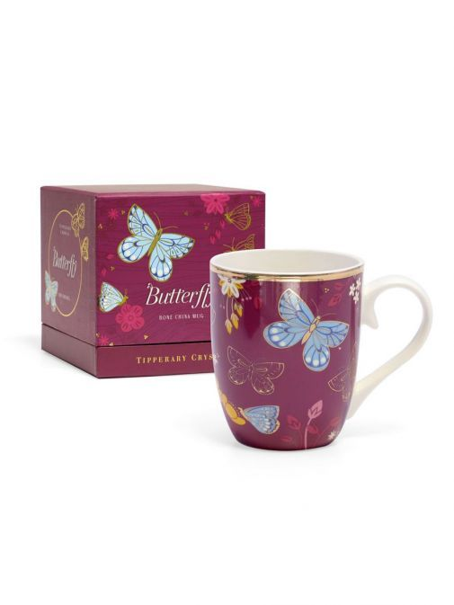 Front shot of the Tipperary Crystal Single Butterfly Mug The Common Blue