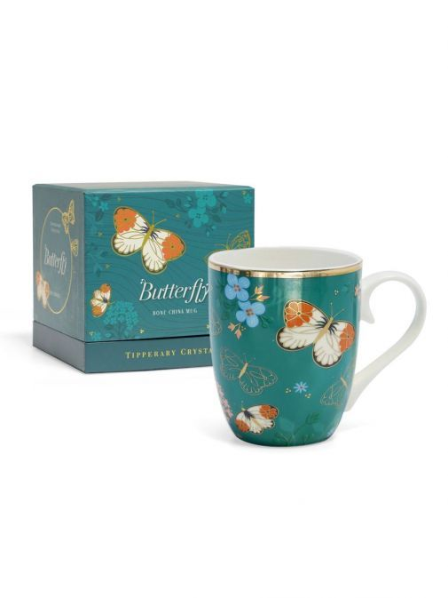 Front shot of the Tipperary Crystal Single Butterfly Mug The Orange Tip