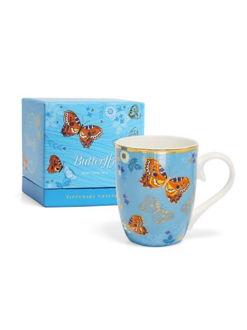 Front shot of the Tipperary Crystal Single Butterfly Mug The Small Tortoiseshell