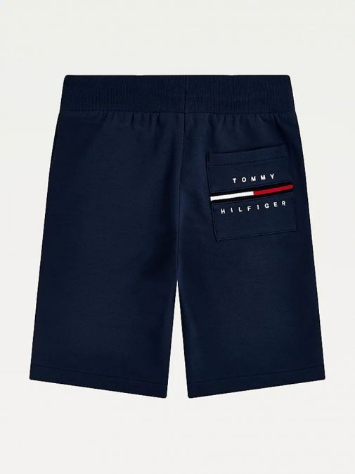Back shot of Tommy Hilfiger Cool Signature Drawstring Sweat Shorts in Navy