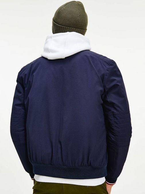 Back shot of Tommy Hilfiger Flex Concealed Hood Filled Jacket in Navy