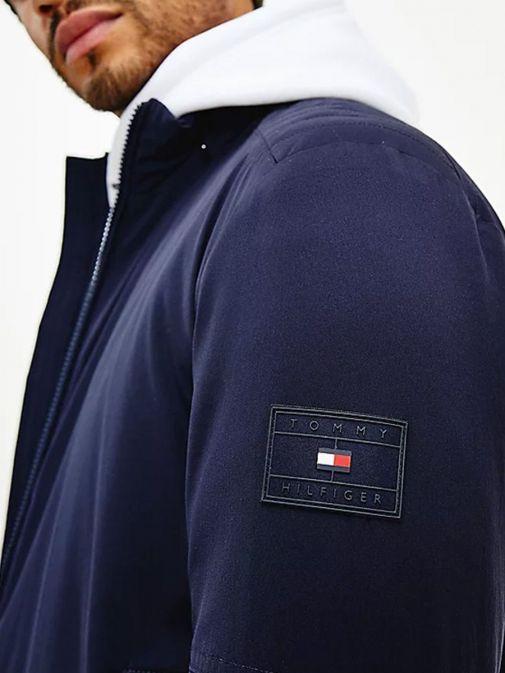 Close up shot of Tommy Hilfiger Flex Concealed Hood Filled Jacket in Navy