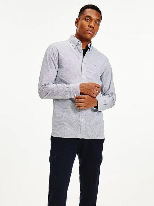 Front shot of Tommy Hilfiger Geometric Print Regular Organic Cotton Shirt in Navy