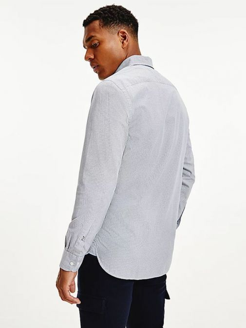 Back shot of Tommy Hilfiger Geometric Print Regular Organic Cotton Shirt in Navy