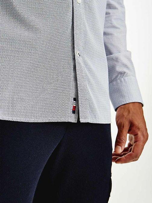 Close up shot of Tommy Hilfiger Geometric Print Regular Organic Cotton Shirt in Navy