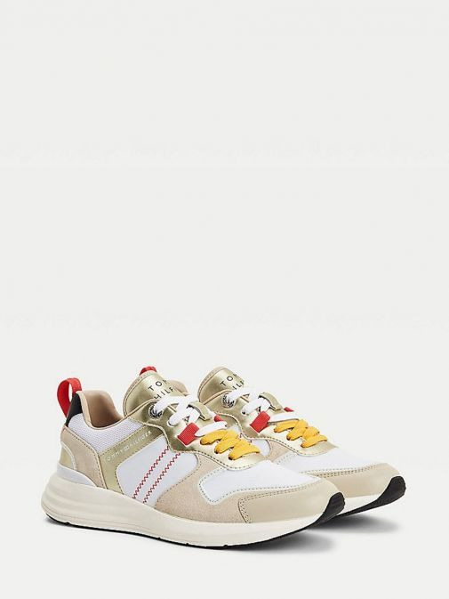 Main image of Tommy Hilfiger Retro Mixed Texture Metallic Trainers in Beige