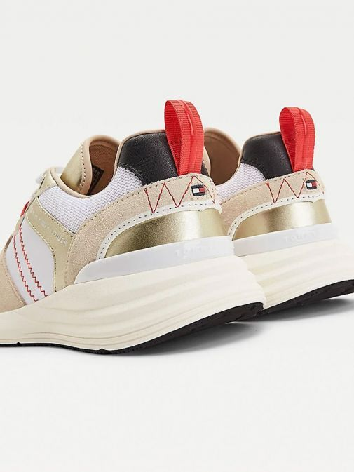 Image of heels of Tommy Hilfiger Retro Mixed Texture Metallic Trainers in Beige