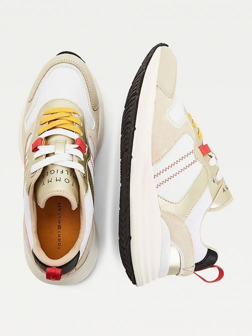 Aerial image of Tommy Hilfiger Retro Mixed Texture Metallic Trainers in Beige