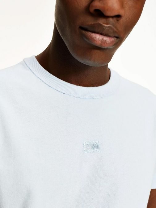 Close up of Model wearing Tommy Hilfiger Tonal Flag Embroidery T-Shirt in Sweet Blue