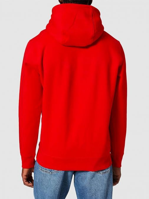 Back shot of model wearing Tommy Jeans Fleece Organic Hoody in Red