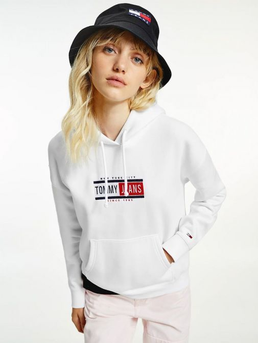 Front image of Tommy Jeans Logo Hoody in White