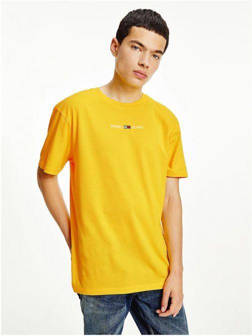 Medium close up of Tommy Jeans Men Organic Cotton T-Shirt Yellow