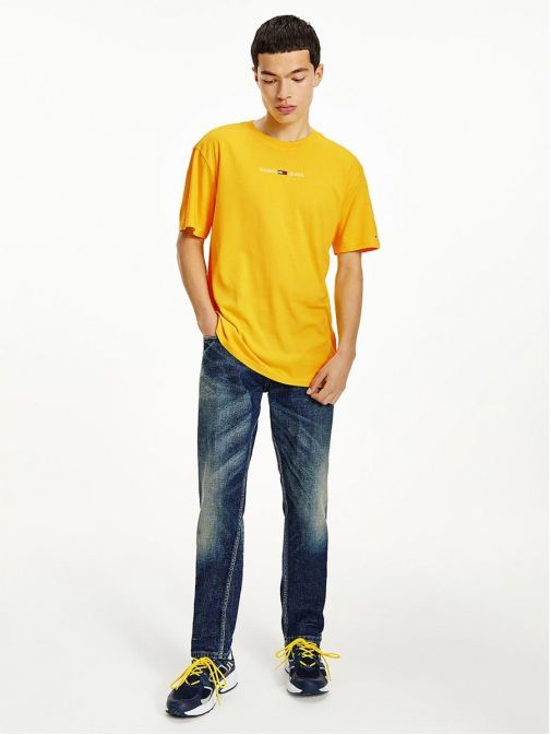 Front shot of Tommy Jeans Men Organic Cotton T-Shirt Yellow