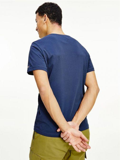 Back shot of Tommy Jeans Mens Flag Logo Organic T-Shirt Twilight Navy