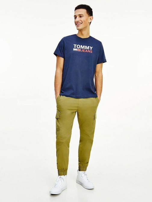 Front Shot of Tommy Jeans Mens Flag Logo Organic T-Shirt Twilight Navy