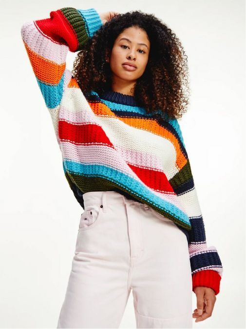 Front image of Tommy Jeans Multicolour Mixed Knit Jumper