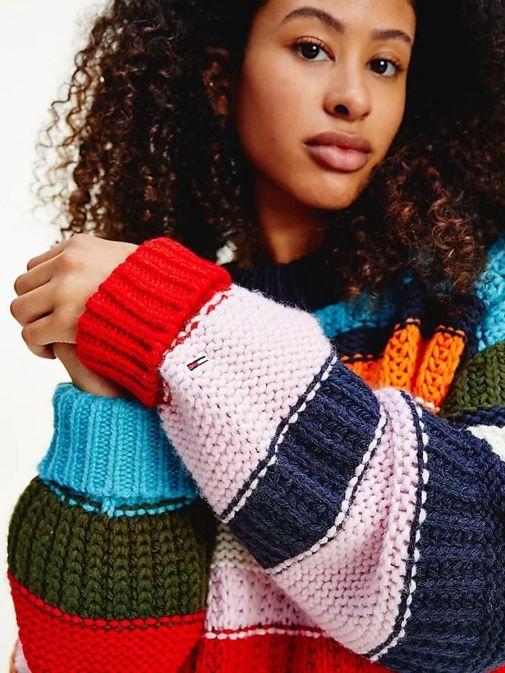 Close up image of Tommy Jeans Multicolour Mixed Knit Jumper