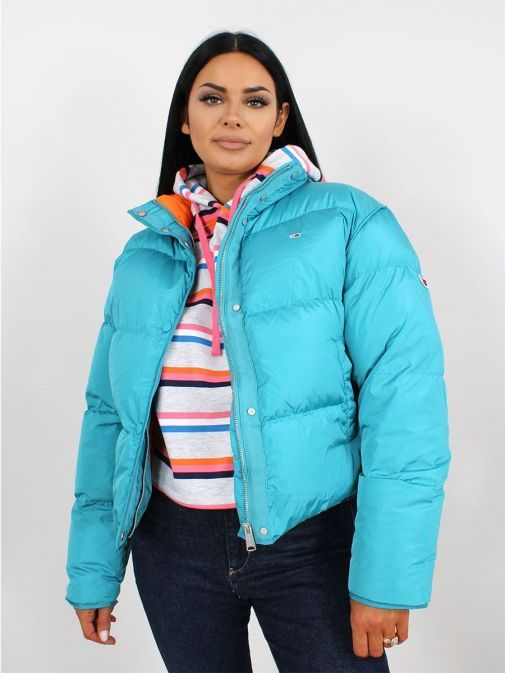 Front image of Tommy Jeans Colour Pop Puffer in Blue