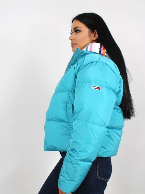 Side image of Tommy Jeans Colour Pop Puffer in Blue