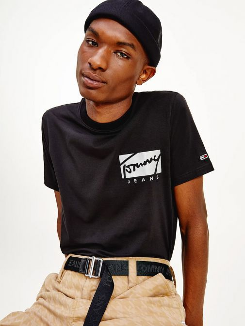 Front shot of the Tommy Jeans Script Logo Stretch Organic Cotton T-Shirt in the Black Colour featuring the logo, short sleeves and round neckline