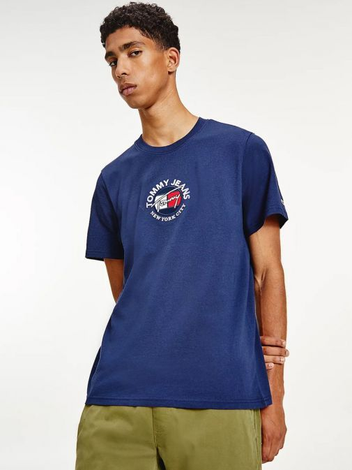 Front shot of Tommy Jeans Timeless Signature Logo T-Shirt in Navy