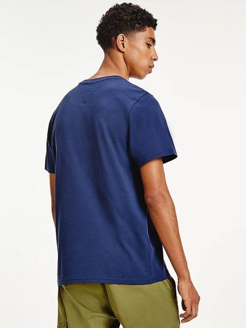 Back shot of Tommy Jeans Timeless Signature Logo T-Shirt in Navy