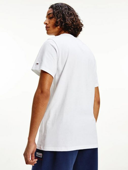 Back shot of Tommy Jeans Timeless Signature Logo T-Shirt in White