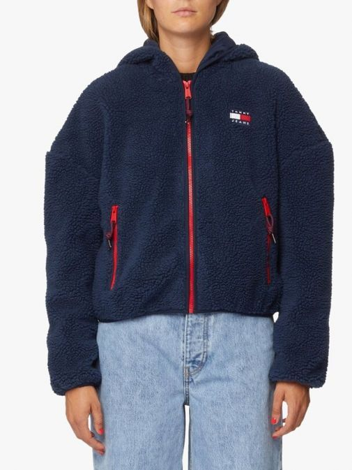 Front image of Tommy Jeans Tommy Badge Sherpa Hooded Jacket in Navy
