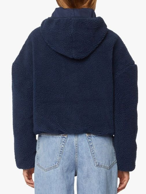 Back image of Tommy Jeans Tommy Badge Sherpa Hooded Jacket in Navy