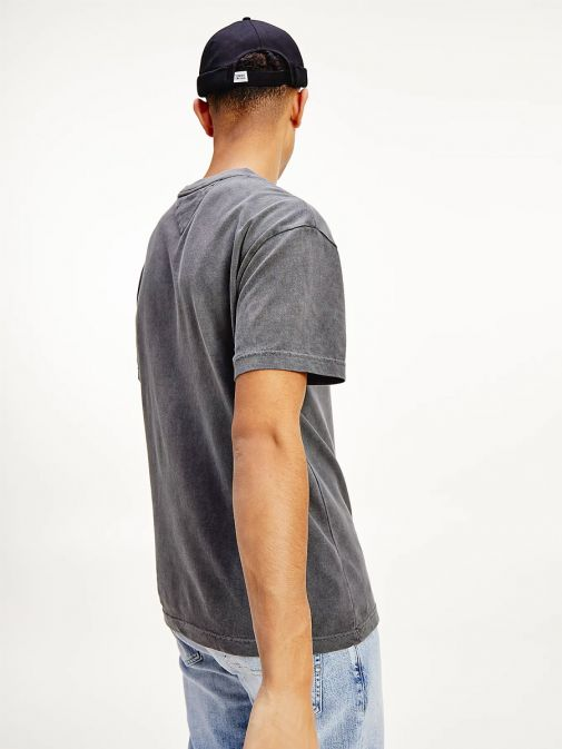 Back shot of the Tommy Jeans Vintage Signature Organic Cotton T-Shirt in the Black colour