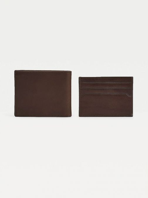 Back image of Tommy Hilfiger Casual Leather Small Card Wallet in Dark Tan