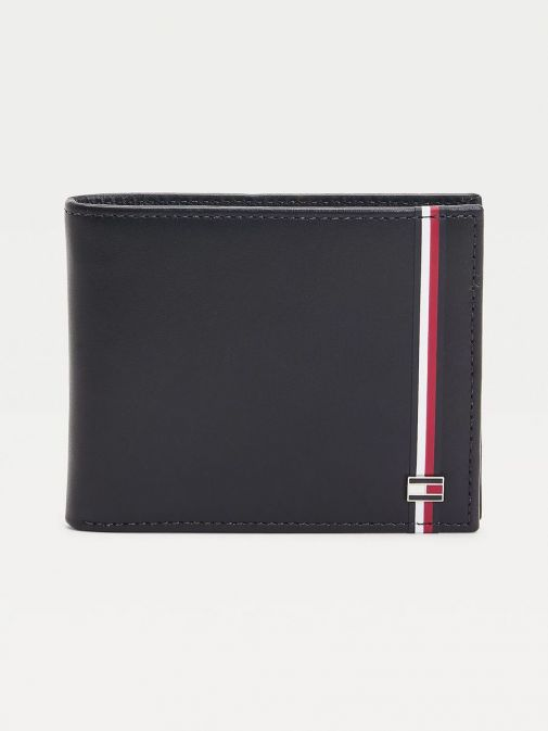 Front image of Tommy Hilfiger Established Signature Small Leather Wallet in Navy