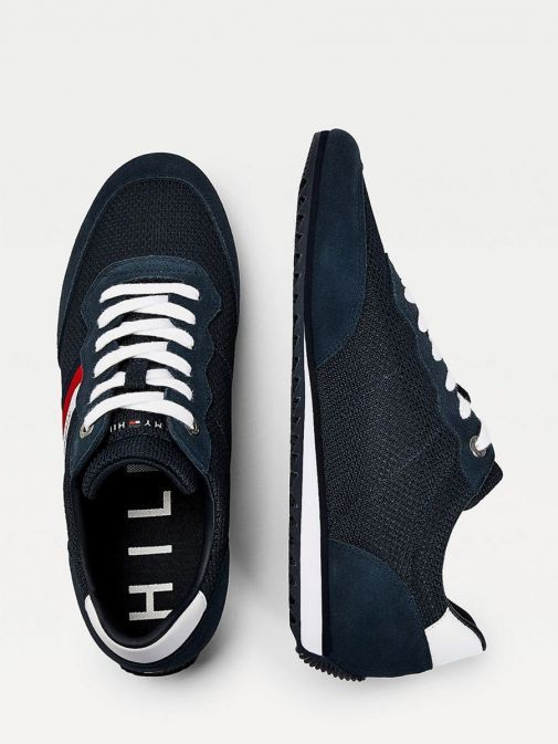 Tommy Hilfiger Essential Mesh Signature Tape Trainers Navy