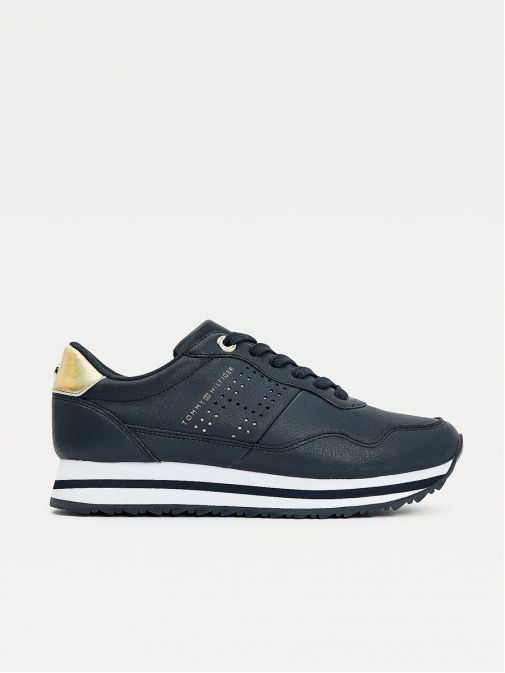 Side shot of Tommy Hilfiger Metallic Leather Trainer in Navy