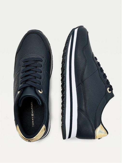 Picture Looking down on Tommy Hilfiger Metallic Leather Trainers in Navy