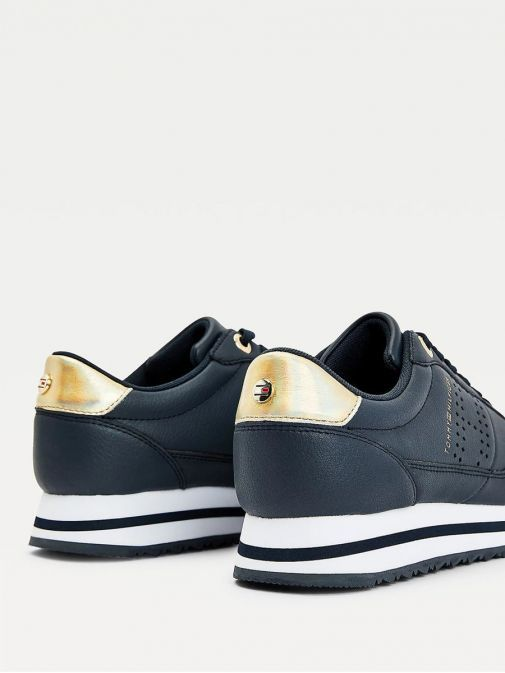 Shot of heels of Tommy Hilfiger Metallic Leather Trainers in Navy