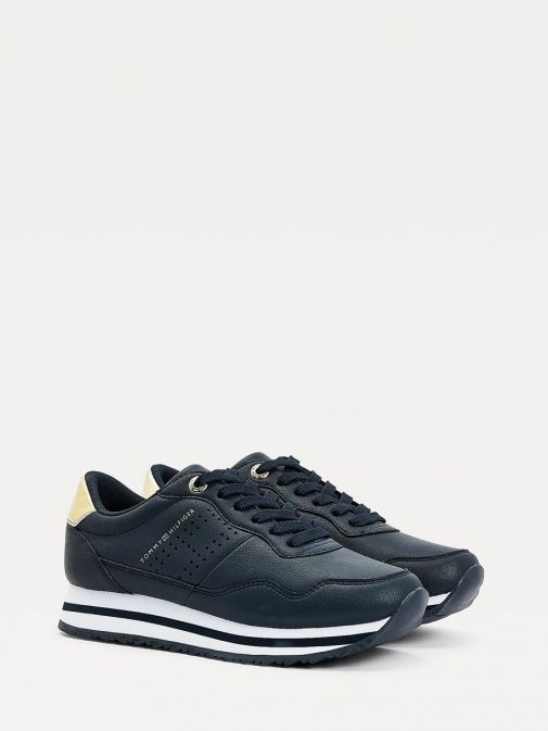 Picture of Tommy Hilfiger Metallic Leather Trainers in Navy