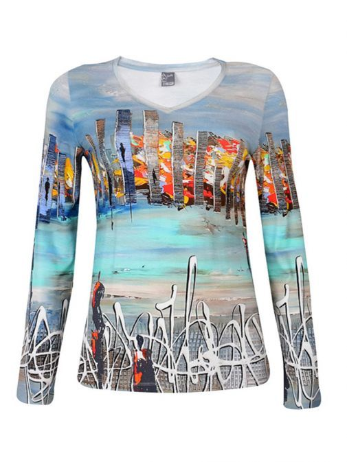 Dolcezza Blue Abstract Painting Print Long Sleeve Top