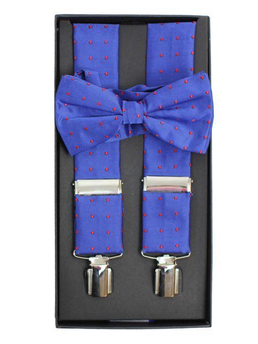 Dario Beltran Blue With Red Dot Braces & Bow Tie Set TP9052 528