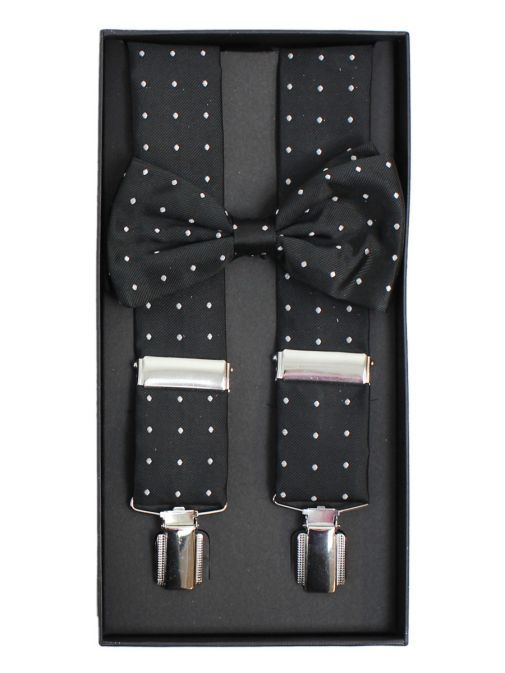 Dario Beltran Black With Silver Polka Dot Braces & Bow Tie Set TP9052 531