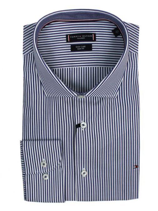 Tommy Hilfiger Navy & White Poplin Stripe Classic Slim Shirt TT0TT06637 0BH