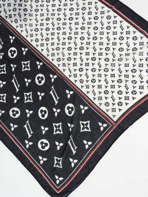 Cilento Woman Black Monogram Printed Scarf tt35/black