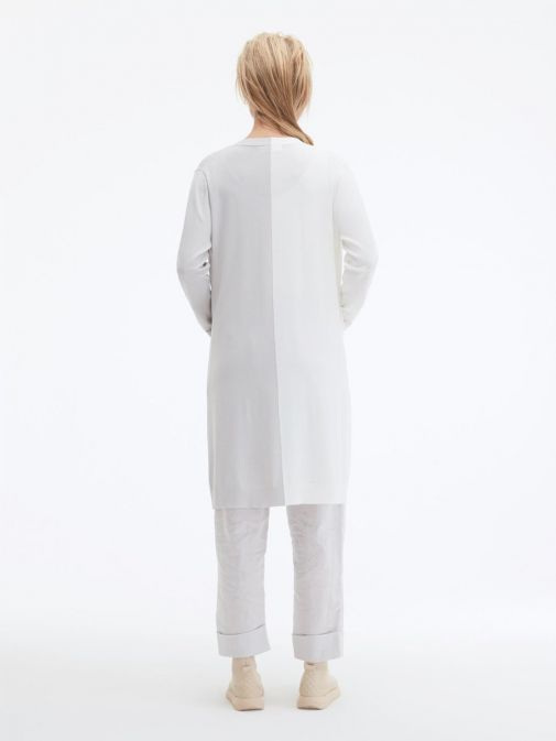 back shot of the Uchuu Longline Cardigan in White and Silver featuring pockets, long sleeves and contrasting block colours