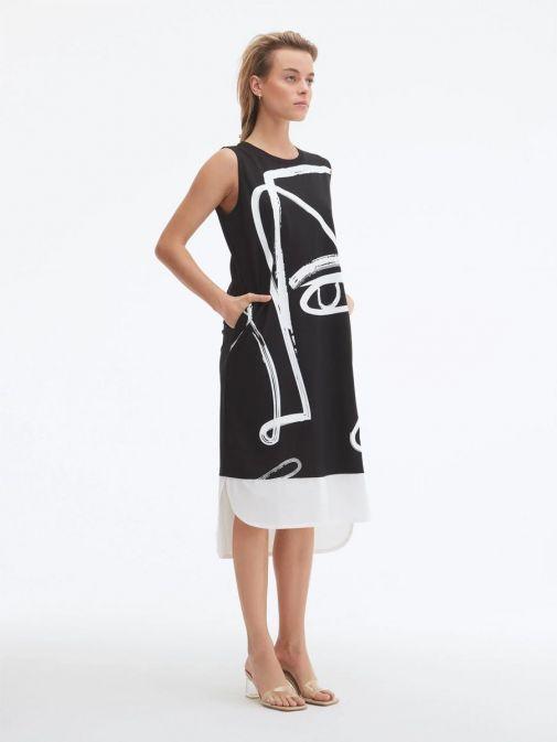 Model wearing Uchuu Round Neck Printed Dress in Black