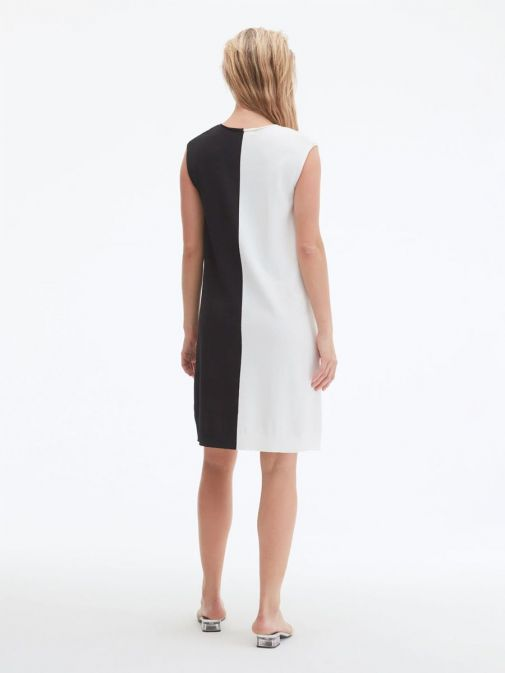 back shot of the Uchuu V-Neck Sleeveless Dress in the cream and Black colour featuring colour block pattern