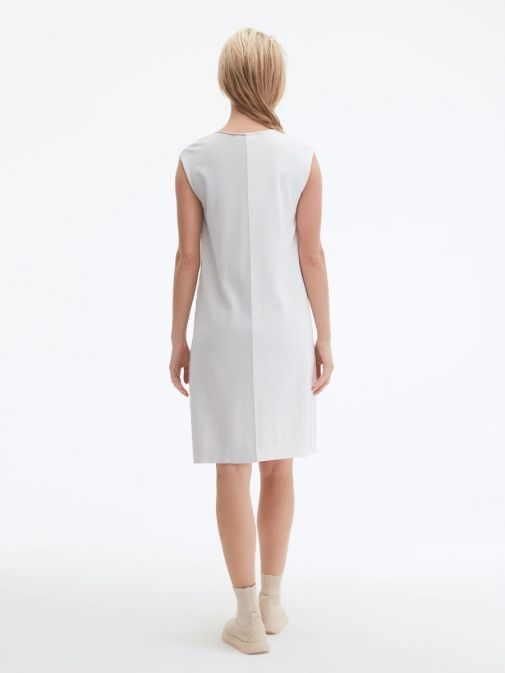 back shot of the Uchuu V-Neck Sleeveless Dress in the cream and grey colour featuring colour block pattern