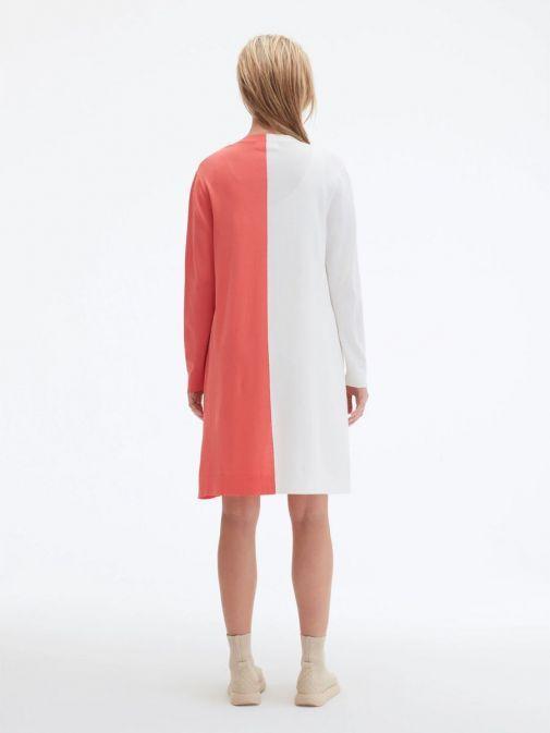 Back shot of model wearing Uchuu Longline Cardigan in White and Strawberry