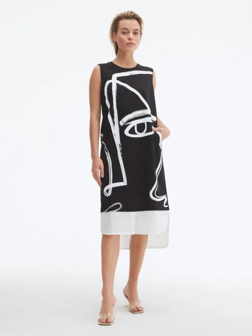 Alternative image of Model wearing Uchuu Round Neck Printed Dress in Black