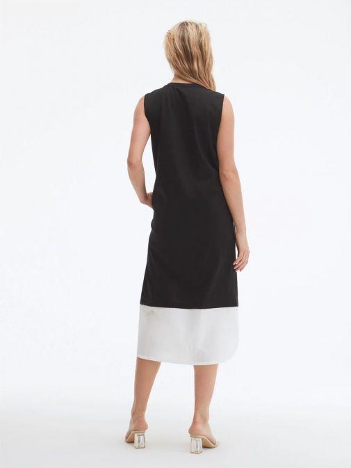 Back shot of model wearing Uchuu Round Neck Printed Dress in Black